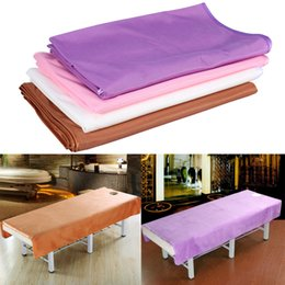 Spa Beds UK - Massage Table Polyester Beauty SPA Bed Cover Massage Sheet SPA Treatment Bed Cover Message Table Sheets With Face Breath Hole