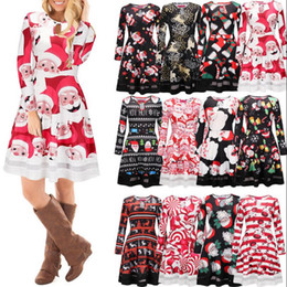 ba4e5cffcee9 Christmas Long Sleeve Party Mini Dresses Santa Claus Snowman Xmas Patchwork  Swing Flared Printed Skater Dress 12 Styles 50pcs OOA3460