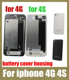 Discount mobile battery case - for iphone 4s 4g back cover housing replacement mobile phone housing back glass battery housing door cover for DIY iphon