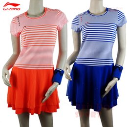 Femme Costume Robe Chine Pas Cher-Gros-2016 Sudirman Cup Doublure équipe nationale de badminton CHINA conception costume Race Stripe Femmes Badminton Sport Robe ASKK052