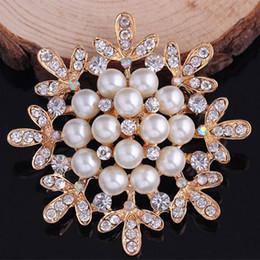 $enCountryForm.capitalKeyWord Canada - Top Qaulity Imitation Pearl And Crystals Flower Brooch Luxury Wedding Bridal Bouquet DIY Brooches Party Costume Collar Pins Cheap Price!!