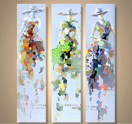 hand painted abstract canvas art Australia - Hand Painted Modern Abstract Oil Painting Figure Art on Canvas for Wall Decoration 3 Panels unframe