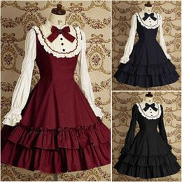 Barato Fantasia De Vestido Preto Longo Gótico-Vintage Black / Blue / Red Dress Lolita Gothic Halloween Cosplay Vitoriano Costumes Long Sleeves Tiered Skirt Cheap Meninas Vestido Mulheres High Neck