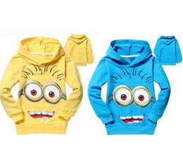 Vêtements D'enfants Méprisables Pas Cher-Tops enfants Garçons Filles Vêtements Despicable Me Hoodies enfants Minions capuche manches longues T-shirts Pull Printemps Automne T-shirt BJ D5928