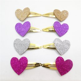 Valentines Sweets NZ - 12pairs  Lot Glitter Felt Sweet Heart Snap Hair Clip Classic Gold and Silver Valentine 'S Day Gift Sparkly Purple Rose Fashion Barrette