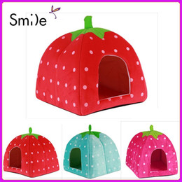 Cat Baskets Beds Canada - New High Quality Strawberry Sponge Pet House Bed Cat Dog Kennel Warm Cushion Basket dog bed products for animals cama perro