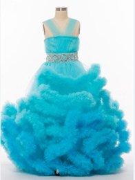 2018 Новые платья высокого цвета голубого цвета девушки цветка многоуровневые отбортовывая кристаллические стразы девушки выпускного вечера платья выпускного вечера мантии