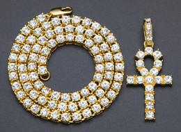 "Egypt Pendants Australia - 14K Gold Plated Egypt Ankh Cross Key Pendant Hip Hop Necklace Tennis Chain Bling 24"""