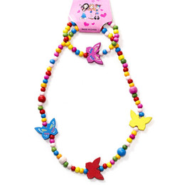 Discount princess kids necklaces - New Children' kids accessories colorful beads necklaces princess wooden beads jewelry handmade DIY sweater chain ba