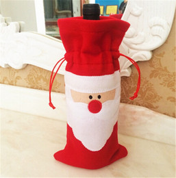 Christmas Tables NZ - 300pcs HOT best price 32*13cm Santa Claus Red Wine Bottle Cover Bags Christmas Table bottle bag Party Supplies D388