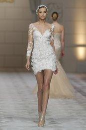 2015 sexy short wedding dresses 3 4 sleeve v neck appliques lace sheath mini bridal gowns zip back custom made
