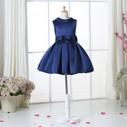 $enCountryForm.capitalKeyWord Canada - Navy Blue Flower Girl Dresses For Weddings Elegant Knee Length Crew Neckline Cap Sleeve Custom Kids Formal Wear Elastic Satin Dress 3-14 Age