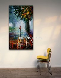 Street Art Canada - Palette Knife Oil Painting Walking in Rainy Street Picture Printed on Canvas Modern Mural Art for Home Living Room Wall Decor