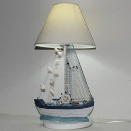 boat tables NZ - Mediterranean Wooden Boat Kids Room Desk Lamp Creative Children Bedroom Table Lamp Study Room Desk Lamps