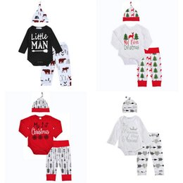 Barato Longas Roupas Estilo Casual-Kids Christmas Manga comprida Romper + pants + hats / headbands 3 pcs Outfits Letter Printed 11 Style Baby Boy Girls Deer Horn