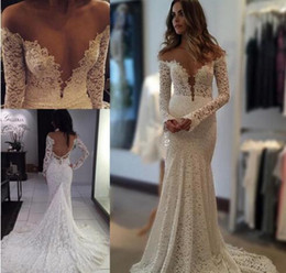 Discount sexy beach lace wedding dresses mermaid - 2016 Berta Vintage Lace Wedding Dresses Mermaid Sheer Long Sleeves Backless Off the Shoulder Beach Wedding Gowns