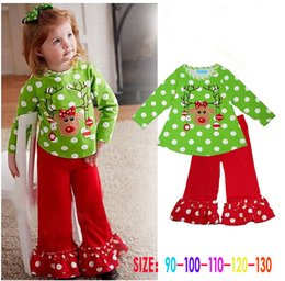 83384e64337ff Christmas children clothing reindeer printing baby girls Xmas set pure  cotton long sleeve girl Christmas t-shirt+pant children clothing set