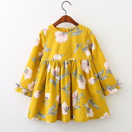Robe À Volants Jaunes Pas Cher-Everweekend Girls Ruffles Robe Florale Candy Jaune Violet Automne Enfants Fashion Dress Princess Fashion Vêtements