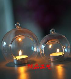 Wholesale Terrarium Orbs Canada - 24PCS set 8CM Hanging Tea Light Candle Holders,10CM Glass Orb Terrariums,Wedding Candlestick Wedding Decor Home Decor House Ornaments