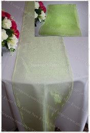 Discount Apple Table Runner Wholesale NO.69 Apple Green Color 35pcs Snow  Organza