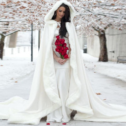 Warm Bridal Bolero Canada - Elegant Cheap 2019 Warm Bridal Cape ivory White Winter Fur Coat Women Wedding bolero Jacket Bridal Cloaks Wedding Coat bridal winter coat