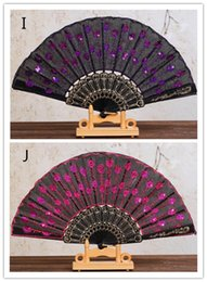 Discount peacocks decor - New Chinese Folding Peacock Hand Fan Bead Fabric Decor Colored Embroidered Flower Pattern Black Cloth Folding Hand Fan
