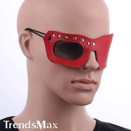 Barato Mens Restrições-Mens Máscara Womens Atacado-Couro Exótico restrições Blindfold Red Eyeshade Cosplay Halloween Party Rivet One Side UM12 Máscara Net