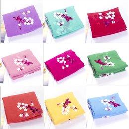 Frauen Stickerei Blume Baumwolle lange Pashmina Schal Wrap weichen Schal im Angebot