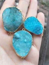 $enCountryForm.capitalKeyWord NZ - Fashion HOT DIY 6pcs Gold plated blue Nature Quartz Druzy Geode connector , Drusy Crystal Gem stone Pendant Beads, Jewelry findings
