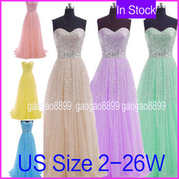 Barato Vestidos Longos Cinzentos Da Dama De Honra-Sweetheart Sequins Tulle Evening Prom Dresses Long Champagne Mint Pink Blue Grey Lilac Beads Bridesmaid Party Vestidos 2015 Em estoque barato