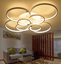 Discount led ring ceiling pendant lamp Super-thin Led Circel Rings Pendant Light Round Ceiling Lamp Ring Chandelier