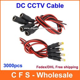 CCtv Coax Cable online shopping - 3000pcs CCTV Female Male DC Wire Power Pigtails Plug Lead Cord Coax Cables mm For CCTV Cameras Fedex DHL