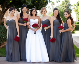 Blue Chiffon Pleated Fabric Canada - Custom Long Bridesmaid Dresses Cheap But High Quality Fabric Strapless Party Evening Gowns Sleeveless Real Image Formal Bridesmaid Dress