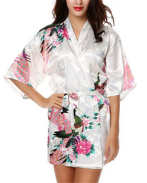 Wholesale kimono sleep for sale - Group buy Ladies Satin Robes Wedding Robe Sleepwear Pijama Bathrobe Women s Peacock And Blossoms Silk Kimono Robe Sexy Nightgown