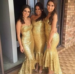 Barato Oi Vestido Baixo Bling-2018 Bling Bling Gold High Low Long Vestidos de dama de honra Sweetheart Mermaid Sequins Maid Of Honor Vestidos Plus Size Wedding Guest Dresses