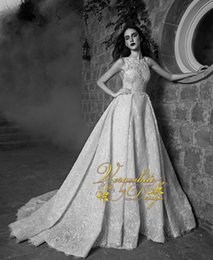 2016 New Spring Zuhair Murad A Line Wedding Dresses Bateau Neck Lace With Appliques Open Back Court Train Bridal Gown Custom