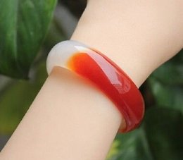 Wholesale NEW RARE HOT red and white AGATE NATURAL JADE BANGLE BRACELET 54-70mm