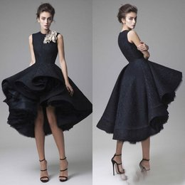Barato Vestido De Baile De Renda-Black High Low Prom Dresses Jewel Neck Hand Made Flowers Krikor Jabotian Vestidos de noite A-Line Olá Lo Full Lace Homecoming Vestidos Custom