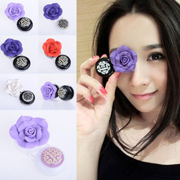 Lentilles De Contact De Mode En Gros Pas Cher-Objectifs gros-Fashion Handmade Rose contact 3D Box Camellia Contact Lens Case Compact