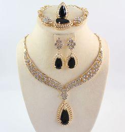 Afrika schmuck sets voller kristall schwarz edelstein halsketten armbänder ohrringe ringe braut und brautjungfer hochzeit set im Angebot