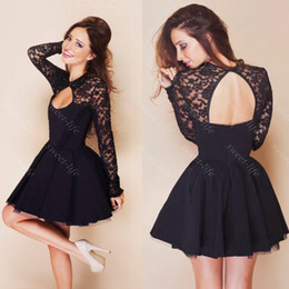 $enCountryForm.capitalKeyWord Canada - 2019 Cute Short Prom Dresses Cheap Black Lace Long Sleeve Backless Party Cocktail Dress 8th Kids Graduation Homecoming Dress Gowns