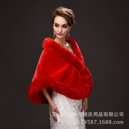 Barato Colete De Pele Branca-Winter Bridal Shawl Wraps Imitation Coelho Casaco de cabelo sem mangas Red / White Wedding Fur Shawls Warm Waistcoat Evening Party