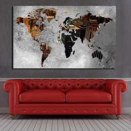 canvas wall art world map NZ - 1 Pcs Oil Painting Abstract World Map Buidling Canvas Art Paintings For Living Room Wall No Frame Decorative Pictures No Framed
