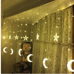 Discount star moon curtain lights New 4M * 0.6MLED Moon Curtain Lights Pentagram Ice Lantern Star Festival Lantern Decorative Lights String