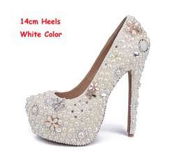 high heels big platform NZ - White Pearl Wedding Shoes Wholesales 2017 New Beautiful Flower Rhinestone Bridal Shoes Platform High Heels Big Size Women Pumps