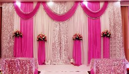 curtain sequin Canada - 3M*6M Sequins Beads Edge Design Fabric Satin Drape Curtain pink Swag With Silver Sequin Fabric For Wedding Decor Prop Backdrop Decorations
