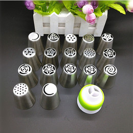 roses cream flower 2019 - Wholesale- 17Pcs Russian Tulip stainless steel Nozzles birthday Cake Cupcake Decorating Icing Piping Nozzles Rose Flower
