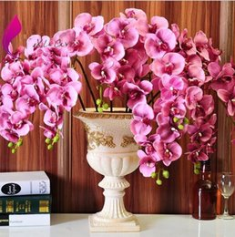 red orchids flowers NZ - Autumanl Moth Orchid flower butterfly orchid artificial flower pu flower for home wedding decoration whole saler free DHL shipping HM015