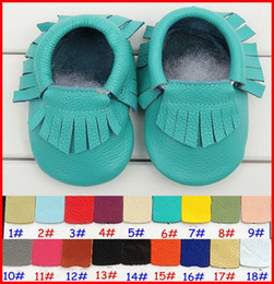 Wholesale Leather Baby Booties Canada - 28Pair baby moccasins boys girls fringe moccs 100% Top Layer Cow Leather Moccs baby booties toddler walking shoes 20Colors Choose 0-2T years