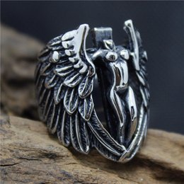 Cool Ring Designs Canada - Size 8-13 New Design Stainless Steel Fashion Cool Angle Wing Ring For Men